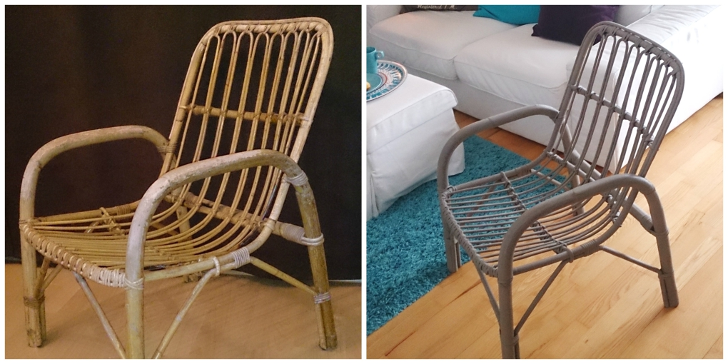Upcycling Rattanstuhl Annie Sloan Chalk Paint