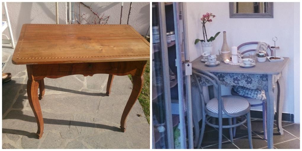 Tisch mit Einlegearbeit Chalk Paint und Decoupage